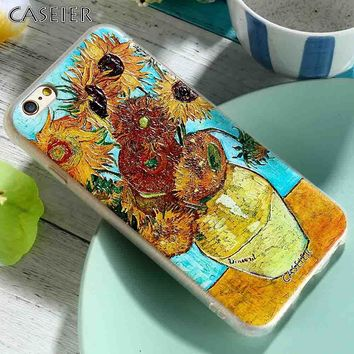 New CASEIER for iPhone 5s 5 SE Case for iPhone 7 6 6s 7 plus Case Fashion Van Gogh's Painting 3D Relif Soft Cute Cover Capa 2017