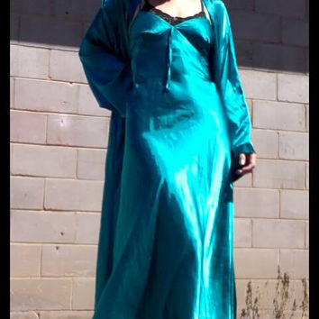Emerald turquoise green silky satin slip maxi dress glamorous 90s 80s grunge festival silk pastel goth bias cut shiny metallic