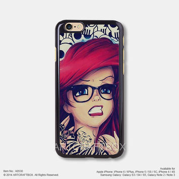 Disney Princess Punk Little Mermaid Free Shipping iPhone 6 6Plus case iPhone 5s case iPhone 5C case iPhone 4 4S case Samsung galaxy Note 2 Note 3 Note 4 S3 S4 S5 case 530