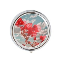 Flowers in the Sky Round Pill Box