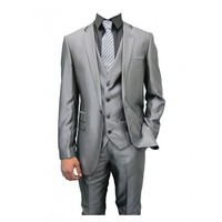 Shiny Grey designer Mens Three Piece Suit with Black trim (Robson)