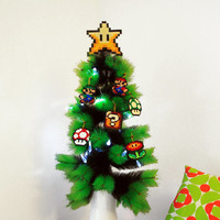 Christmas Tree Decoration Set Super Mario Bros Inspired. 6 Christmas Ornaments / Star Tree Topper.
