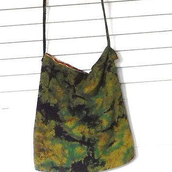 Green Black Tie Dyed Crossover Purse Small Bag Lined Hippie Boho Accessory Festival Purse