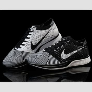 NIKE woven casual shoes light running shoes Black and white