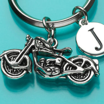 Large Motorcycle Keychain, Motorcycle Key Ring, Biker's Keychain, Sports, Initial Keychain, Personalized Keychain, Custom Keychain, 230