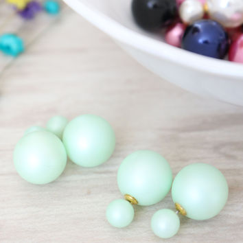 Double Candy Earrings - Frosted Green