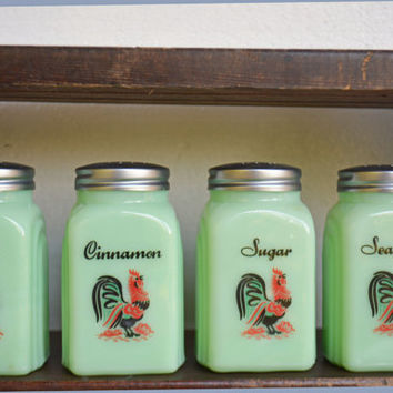 Green Milk Glass Kitchen Set Rooster Green Glass Spice Jars Mixing Bowl Canister