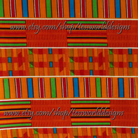 Kente 1 yard African Cotton Print, Fabric,Orange, Red, Sold By The Yard.