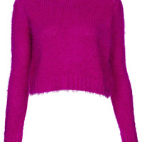 Knitted Fluffy Crop Jumper - Knitwear - Clothing - Topshop USA