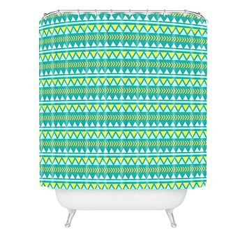 Allyson Johnson Teal And Yellow Aztec Shower Curtain