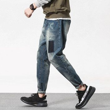 Patch Printing Ripped Casual Jean