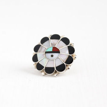 Vintage Sterling Silver Large Sunface Ring - Size 5 Retro 1970s Native American Tribal Zuni Onyx MOP Coral Turquoise Statement Jewelry