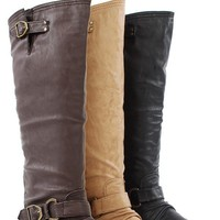 Tosca01a Zipper Back Knee High Flat Riding Boots BROWN  - Knee Boots - Boots - Shop