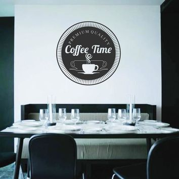 ik2141 Wall Decal Sticker time premium coffee cup drink restaurant cafe diner