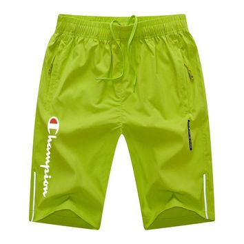 Champion 2018 summer new men's sports and leisure solid color beach pants Fluorescent green