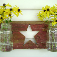 Barn wood Mason Jar Hanger with Star: reclaimed red barn wood mounted mason jars star cut out hanging vase organizer