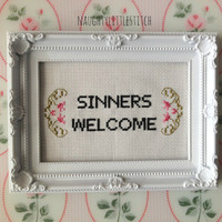 MADE TO ORDER - Sinners Welcome - Finished and framed cross stitch