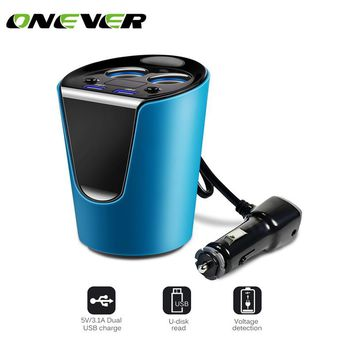 Onever 3.1A Dual USB Car Charger Adapter with 2 Cigarette Lighter Socket Car Cup Holder Type Smart Fast Charge  DC 12-24V