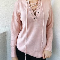 HANNAH LACE FRONT SWEATER- PINK