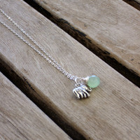 Lucky silver elephant and mint green briolette simple chic necklace
