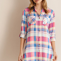 Roll Sleeve Button Up Top - Pink and Blue
