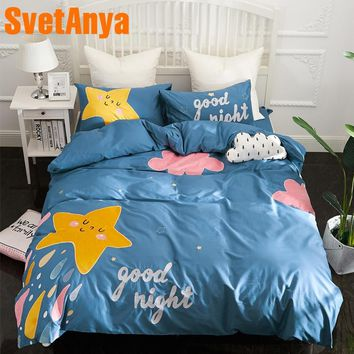 Svetanya Star Rain Applique Embroidery Bedlinen (Sheet Pillowcase Blanket Cover Sets ) 100% Cotton Bedding Set Blue