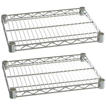 "Commercial Kitchen Heavy Duty Chrome Wire Shelves 24"" x 36"" with Clips (Box of 2)"