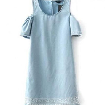 Off-the-shoulder Embroidery Denim Dress With Short Sleeves