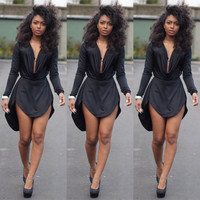 women summer dress 2016 style black womens sexy bodycon dresses club night club dress long sleeve women casual dress ZF591
