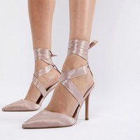 ASOS PINOT Satin Lace Up Heels at asos.com