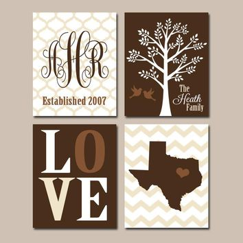 Family Tree Custom Wall Art, CANVAS or Prints Couples Monogram State LOVE Bird Established Date Set of 4 Wedding Home Decor Brown Beige