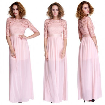 Women's Lace Chiffon Patchwork Prom Ball Gown Cocktail Party Evening Maxi Dress
