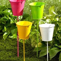 Metal Pail Buckets Garden Stakes Flower Beds Potted Plants Yard Decor Set of 4