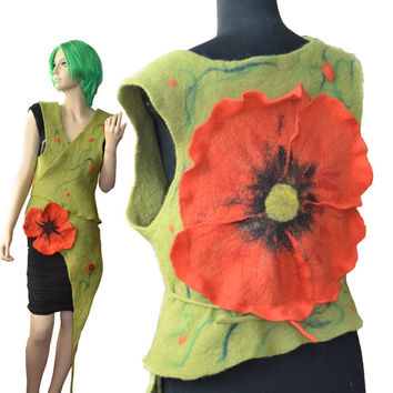 Olive green felt vest with red flowers, Hand felted Women's Clothing, big red poppy, wool  Art Clothing,  handmade felted wool, felt flower