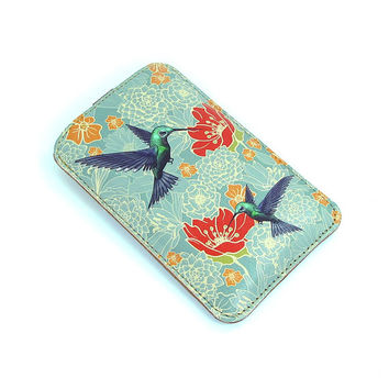 Leather iPhone case - Hummingbirds in floral bliss
