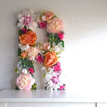 "19"" Large Floral Letter CUSTOM // Succulent, Flower, Wedding decor, Bridal Shower, Baby Shower, Nursery Decor, Party Decor, Photo Prop, Gift"