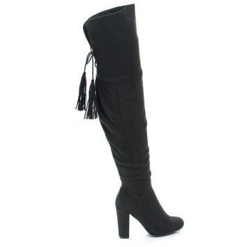 Hilltop28M Black By Wild Diva, Pull-On Block Heel Over Knee Boot Lace Tie Fastening Drawstring