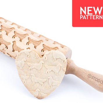 Golden retriever - Embossed, engraved rolling pin for cookies