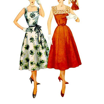 50s Sleeveless Dress Pattern Easy Sew Square Neckline Simple to Make V Back Vintage Simplicity 4347 Sewing Patterns Size 20 1/2 Bust 39