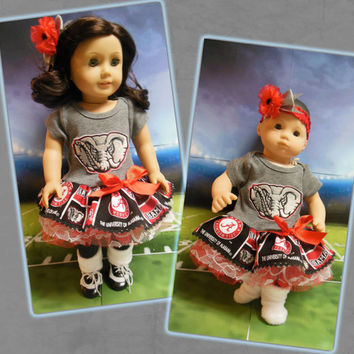 """American girl doll clothes Bitty Baby doll clothes """"Roll Tide!"""" (18 inch or 15 inch) cheerleader University of Alabama Crimson Tide"""