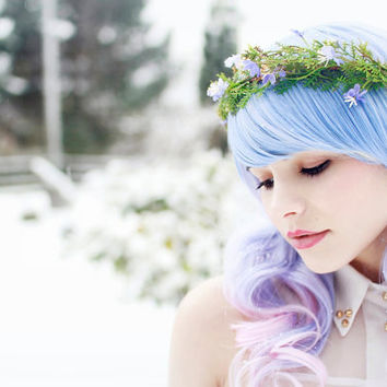 Floral crown blue flower hair wreath moss by gardensofwhimsy