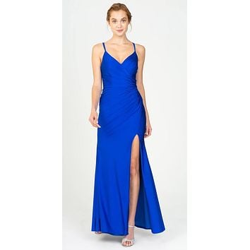 Royal Blue Fit and Flare Evening Gown with Slit