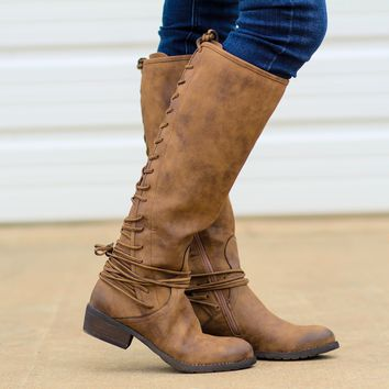 Marcelina Tall Lace Up Boots in Tan