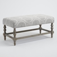 Gray Medallion Davenport Upholstered Bench