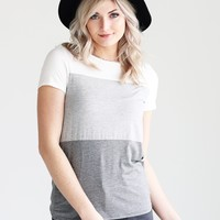 Ivory DLMN Relaxed Fit Color Block Tee