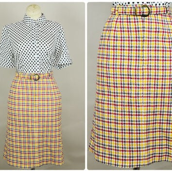 burgundy & gray tweed plaid high waist belted pinup pencil secretary skirt 1950s vintage preppy