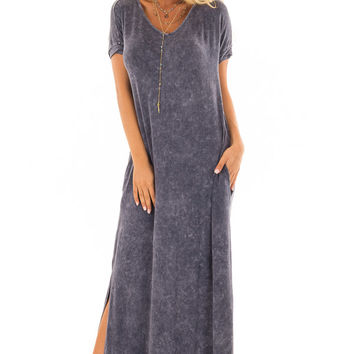 Navy Acid Wash Maxi Dress