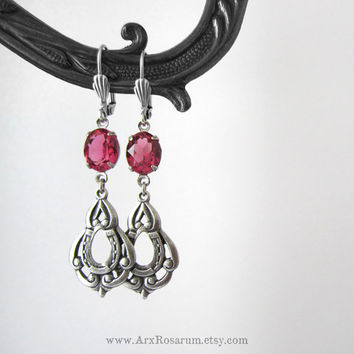 Hot Pink Earrings - Fuchsia Rose - Silver Plated Lucky Horseshoe - Equestrian Weddding