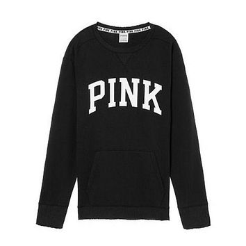 Victoria's Secret PINK Women's Fashion Letter Print Long-sleeves Pullover Tops Sweater Black