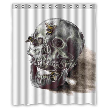 "Sketch skull butterfly custom Shower Curtain Bathroom decor fashion design 36x72"" 48x72"" 60x72"" 66x72"""